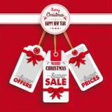 Punto de las etiquetas engomadas del precio de la Navidad del emblema Foto de archivo