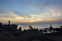 Punto de opinión de la puesta del sol, Kanyakumari, la India Imagenes de archivo