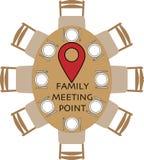 Punto de reuni?n de la familia en la mesa redonda ilustración del vector