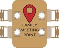 Punto de reuni?n de la familia en la mesa redonda stock de ilustración
