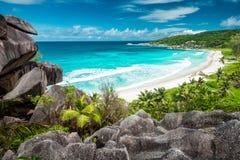 Punto de vista asombroso en Seychelles Foto de archivo