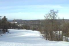 Punto de vista bajo de esquí del esquiador almacen de video