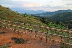 Punto de vista con la cerca de madera Imagen de archivo libre de regalías