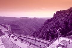 Punto de vista de la montaña de Montserrat, España Imagenes de archivo