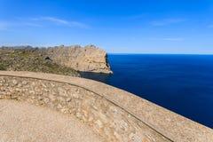 Punto de vista en el cabo Formentor, isla de Majorca Fotos de archivo libres de regalías