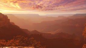 Punto de Yavapai del parque nacional de Grand Canyon de la puesta del sol de Arizona almacen de video