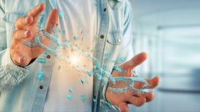 Punto debole di un blockchain rotto che esplode - 3d rendono Immagini Stock Libere da Diritti