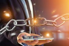 Punto debole di una catena rotta che esplode - 3d rendono Immagini Stock