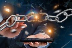Punto debole di una catena rotta che esplode - 3d rendono Immagini Stock Libere da Diritti