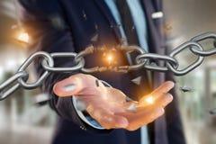 Punto debole di una catena rotta che esplode - 3d rendono Fotografia Stock Libera da Diritti