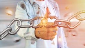 Punto debole di una catena rotta che esplode - 3d rendono Fotografia Stock