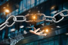 Punto debole di una catena rotta che esplode - 3d rendono Fotografie Stock
