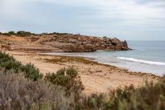 Punto del commodoro situato nel porto a ferro di cavallo Elliot South Australia della penisola di Fleurieu della baia il 3 aprile fotografie stock libere da diritti