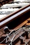Punto del ferrocarril que se pega para arriba Imagenes de archivo