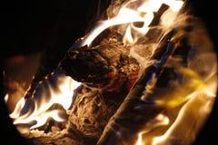 Punto del fuoco della legna da ardere Fotografie Stock Libere da Diritti