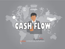 Punto del hombre de negocios a la palabra del flujo de liquidez con el icono del negocio efectivo f Imagen de archivo libre de regalías
