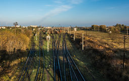 Punto dell'affluenza della ferrovia in Kovel, Ucraina Trasporto ferroviario Fotografia Stock Libera da Diritti