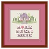 Punto dell'incrocio della casa dolce casa del ricamo, cerchio di legno Immagine Stock Libera da Diritti