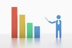 Punto dell'uomo di affari al grafico di crescita Fotografia Stock Libera da Diritti