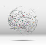 Punto della mappa di mondo, linea, composizione il globale Immagine Stock