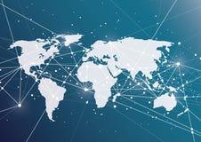 Punto della mappa di mondo, linea, composizione il globale Immagini Stock