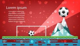 Punto di calcio di concetto dei grafici di progettazione di logo di calcio sulla montagna nell'illustrazione rossa di vettore del Fotografie Stock