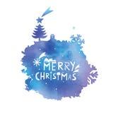 Punto di colore di acqua con una congratulazione di Natale Immagini Stock