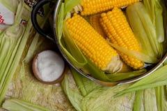 Punto di ebollizione del mais con sale mais cucinato in vaso sulla tavola di legno Fotografia Stock