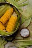 Punto di ebollizione del mais con sale mais cucinato in vaso sulla tavola di legno Fotografie Stock