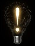 Punto di esclamazione di idea della lampadina Fotografia Stock