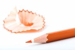 Punto di punta delle matite arancio Fotografie Stock Libere da Diritti