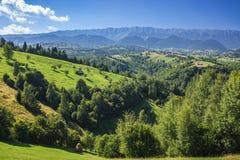 Punto di riferimento alpino della Transilvania di estate, paesaggio con i campi verdi Immagine Stock