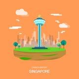 Punto di riferimento dell'aeroporto di Changi nella progettazione di illustrataion di Singapore Fotografie Stock Libere da Diritti