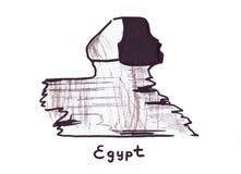 Punto di riferimento dell'illustrazione che schizza grande Sfinge egiziana antica Immagini Stock Libere da Diritti