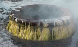 Punto di riferimento delle sorgenti di acqua calda del geyser al parco pubblico di Raksawarin in Ranong, Fotografie Stock
