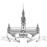 Punto di riferimento di Amburgo, Germania. Simbolo di schizzo della Germania Immagini Stock Libere da Diritti