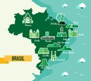 Punto di riferimento di progettazione piana delle icone del Brasile Immagini Stock Libere da Diritti
