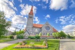 Punto di riferimento famoso della cattedrale di Tampere in Finlandia immagini stock
