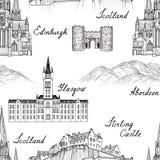 Punto di riferimento famoso delle città della Scozia di viaggio con calligraph fatto a mano Fotografia Stock Libera da Diritti