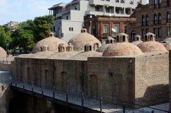 Punto di riferimento famoso di Tbilisi - lo zolfo medievale bagna, la Georgia immagine stock libera da diritti