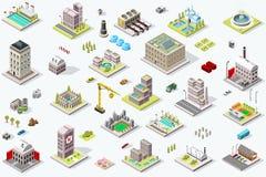 Punto di riferimento isometrico delle icone della costruzione della città illustrazione vettoriale