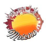 Punto di riferimento Logo Sketch di Mosca Immagini Stock