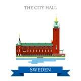 Punto di riferimento piano di vista dell'attrazione di vettore di Hall Stockholm Sweden della città Immagine Stock Libera da Diritti