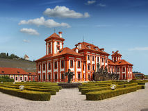 Punto di riferimento romantico di Praga del castello di Troja Fotografia Stock Libera da Diritti