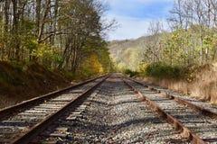 Punto di sparizione dei binari ferroviari in legno Fotografie Stock