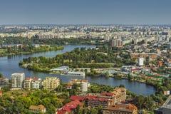 Punto di vista aereo della città del lato nordico di Bucarest Fotografie Stock Libere da Diritti
