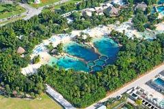 Punto di vista aereo della piscina Fotografie Stock