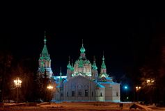 Punto di vista di Alexander Nevsky Temple, Ä?eljabinsk di notte Immagini Stock Libere da Diritti
