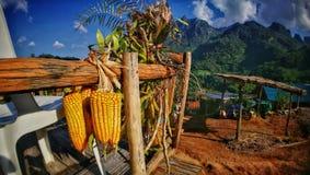 punto di vista alla montagna di chaingdao vicino al villaggio del paese Fotografia Stock Libera da Diritti