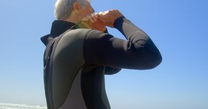 Punto di vista di angolo basso del surfista maschio caucasico senior attivo che porta muta umida sulla spiaggia 4k video d archivio